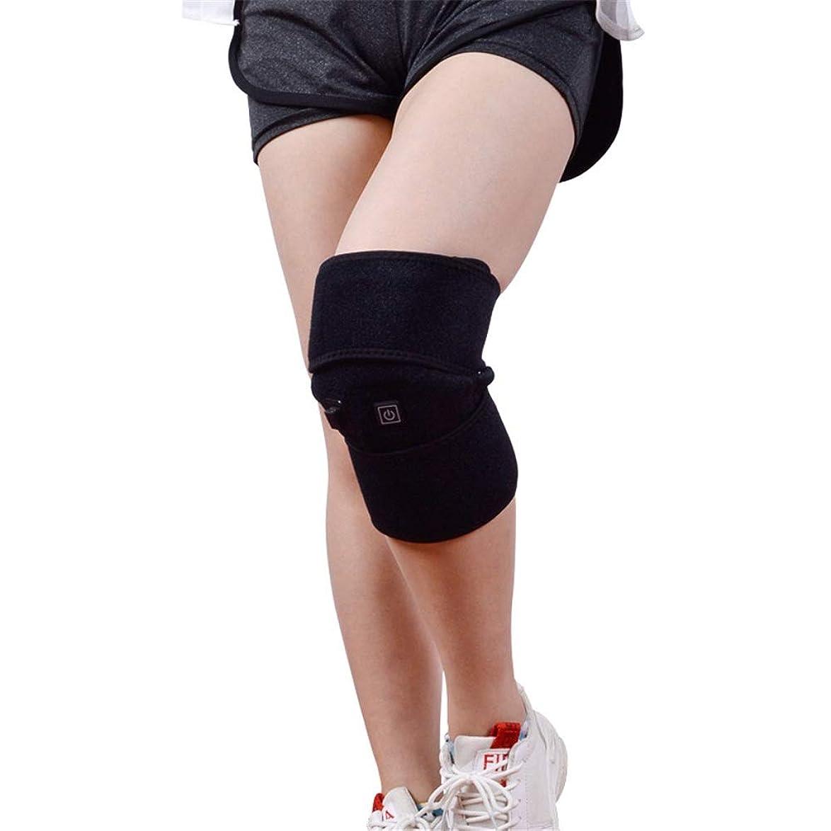 メンターひどい比率女性と男性の3温度制御熱膝膝暖房パッド膝のサポート (色 : ブラック, サイズ : Free size)