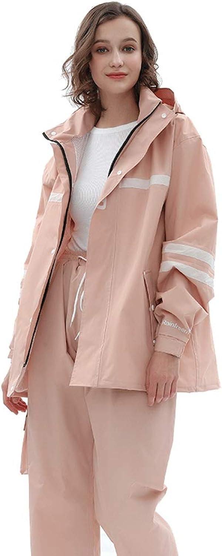 Raincoat Cycling raincoat rain Pants Set Men and Women Against rainstorms (color   Light Pink, Size   M)