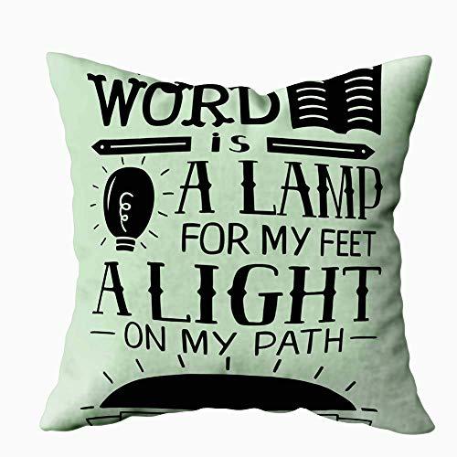 Fundas de almohada para sofá, fundas de almohada cuadradas, Navidad, tu palabra, lámpara, mis pies, camino de luz, versículo bíblico, póster cristiano, nuevo, moderno, en ambos lados, decoración de gr