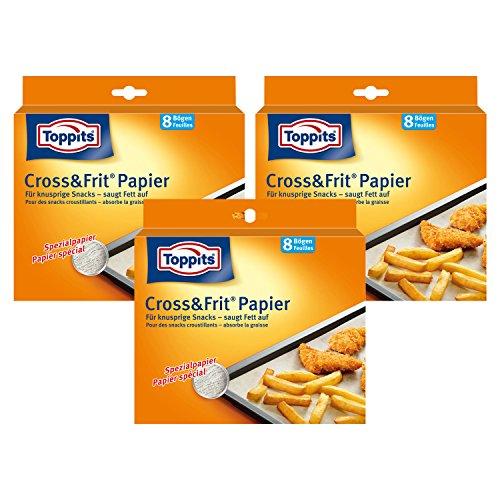 Toppits Cross & Frit Papier (37cm x 30cm), 3er Pack (3 x 8 Bögen)