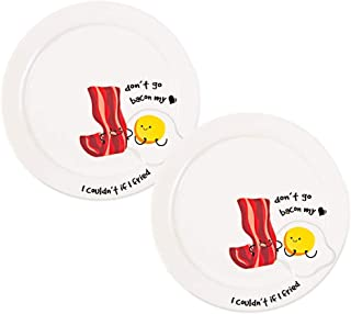 Pavilion Gift Company 74945 Pavilion-Don't Go Bacon My Heart, I Couldn't If I Fried-7.25 Inch Bacon & Eggs Se Appetizer Plates Set of 2, White