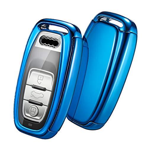 OATSBASF Autoschlüssel Hülle Geeignet für Audi,Schlüsselhülle Cover Case für A4 A5 A6 A7 Q5 Q7 Q8 RS SQ Seat 3-Tasten Keyless Schlüsselbox (Blau)