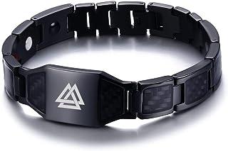 VNOX Viking Jewelry Valknut Symbol Odin Carbon Fiber...
