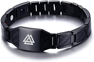 VNOX Viking Jewelry Valknut Symbol of Odin Carbon Fiber Magnetic Therapy Bracelet for Men,Free Remove Tool