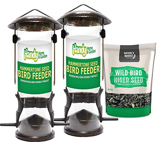 2 x Handy Home and Garden Premium Hammertone Wild Bird Seed Feeders with 0.9KG bag of Niger Seed Feed