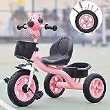 COUYY Niño del Triciclo, Triciclo de Pedales de niños Smart Design 3 Wheeler, niños pequeños a niños Paseo en Triciclo Pedal del Marco de la Bici de Metal Triciclo de 1-6 años,Rosado