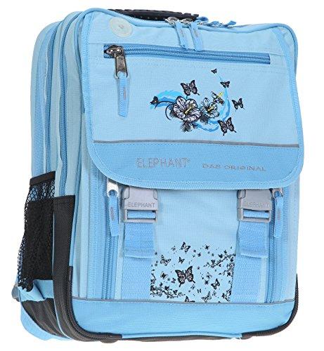 Elephant XL Schulrucksack Select mit Regencover   Schulranzen Rucksack Butterfly Love   Hellblau