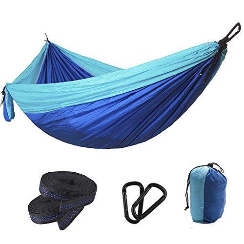 Hangmat Enkele dubbele camping Draagbare hangmat voor buiten Wandelen Reizen Backpacken - 300 * 200 cm Nylon hangmatschommel - Max. Belasting 660 pond met nylon touwen en karabijnhaken,Blue