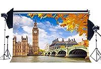 GooEoo 7x5ftビッグベンロンドンテムズ川ヨーロッパ建築青白い雲黄金の葉秋の背景結婚式の背景家族のパーティーの誕生日の背景ベビーシャワーの装飾ビニール素材