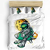 Savannan Microfiber Duvet Cover Set Twin Size Extra Soft Bedding Set 4pcs Astronaut Riding a Green Rocket with Yellow Planet -1 Duvet Cover,2 Pillowcase and 1 Sheet