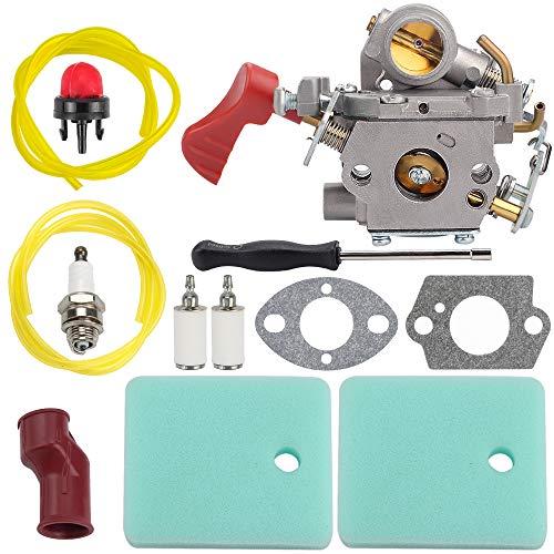 Hipa 545008042 Carburetor Air Filter for Pouan Pro PP033 PP133 PP333 PP338PT Husqvarna BC233B BC433B Craftsman 358791170 358791140 358795920 String Trimmer 545189502 C1M-W44 Fuel Line Spark Plug