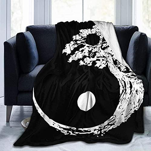 Manta de Terciopelo de Felpa Yin Yang Bonsai Tree Alfombra de Lana mullida Alfombra de Sala de Estar Colcha para niños Alfombrilla de Dormir Suave Funda de Franela para Todas Las Estaciones
