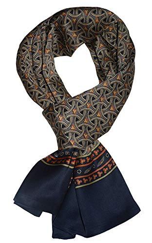 UK_Stone Halstuch Herren 100% Seide Schal Vintage Pattern Seidenschal Herrenschal, (Geflochtenes Pattern Marineblau …)