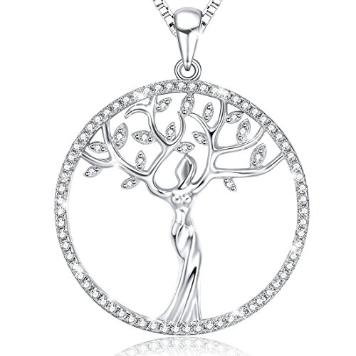 Ado Glo Mothers Day Mom Gifts, Family is a Circle of Strength and Love Tree of Life Pendant Necklace, Fashion Jewelry for Women and Girls, Christmas Anniversary Wedding Birthday Presents to Her