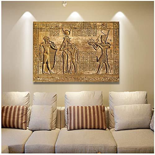 NIEMENGZHEN Druck auf Leinwand Ägyptische Hieroglyphen Fresko Leinwand Gemälde Königin Carving Pharao Altes Ägypten Wandbild Poster Druck 70x90cm Kein Rahmen