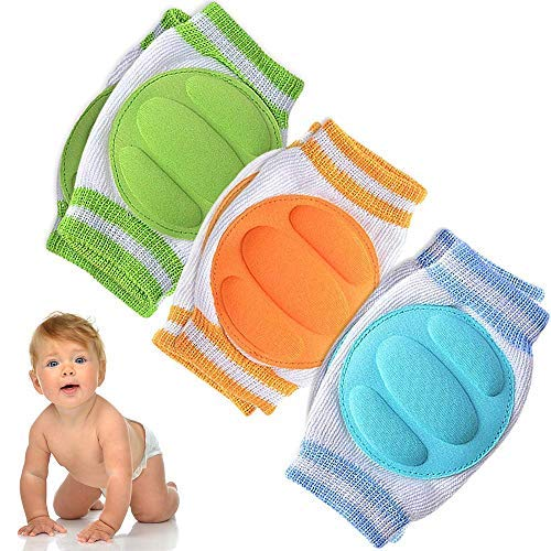Anti-Slip Knee Pads for Babies, Adjustable Baby Knee Pads for Walking, Breathable Baby Crawling Knee Pads for Baby Protection, 3 Pairs