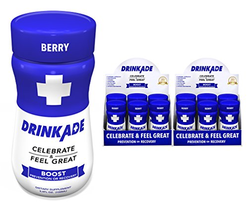 DrinkAde Boost (12 Pack) Hydration & Recovery Drink with Caffeine, Electrolytes, Vitamin B, Milk Thistle for Energy and Liver Detox, Only 5 Calories, No Sugar, Vegan, Non-GMO