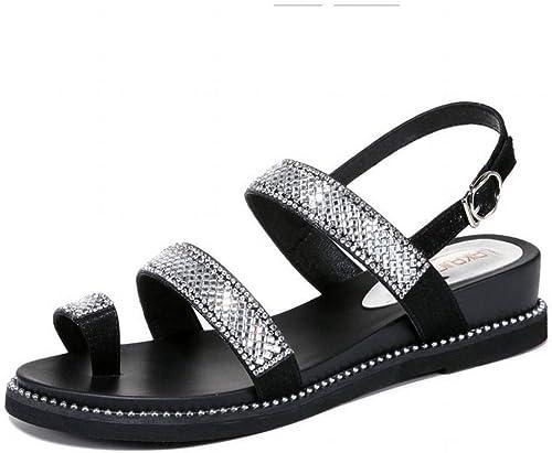 LTN Ltd - sandals Strass Sandales Romaines Romaines Plates Féminines Fées Vent Chaussures de Plage D'été Chaussures Populaires pour Femmes, Blanc, 39  grandes marques vendent pas cher