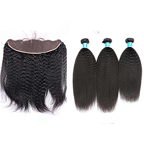 Vinsteen Brazilian Hair Weave Bundles Best 8A Unprocessed Brazillian Kinky Straight Human Hair Extensions with 13X4 Lace Frontal Closure Natural Black (8 10 12 & Closure 8)