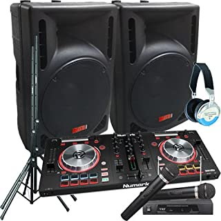 Serato Software DJ System - Numark MixTrack Pro III - 2400 Watts of Powered DJ Speakers w/Stands, 2 Wireless Microphones & Headphones