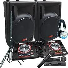 Serato Software DJ System - Numark MixTrack Pro III - 2400 Watts of Powered DJ Speakers w/Stands, 2 Wireless Microphones & Headphones