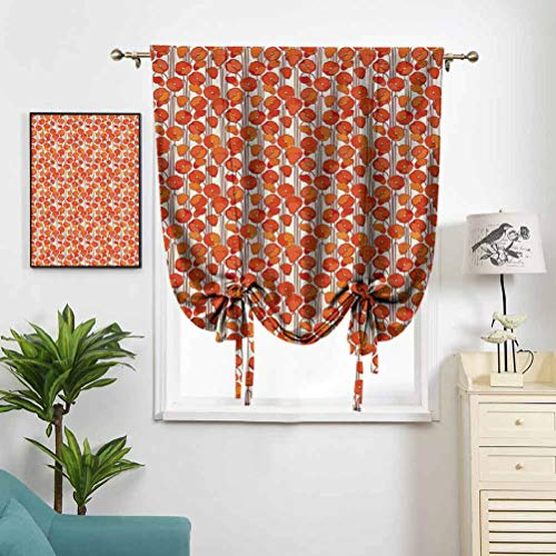 Dasnh Rod Pocket Roman Curtains Art Nouveau Style Poppy Flowers W48 x L64 Hight Blackout Curtains for Kid Room Windows
