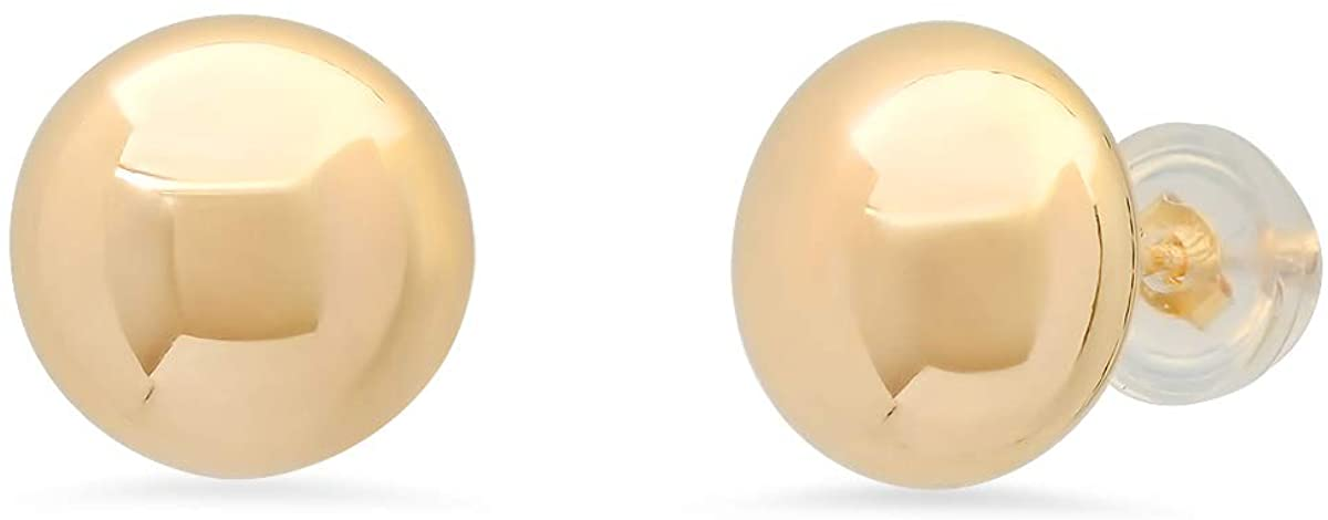 Amazon Collection Women's 14Kt Flat Ball Stud Earrings With Silicone Covered Pushbacks