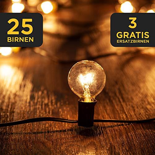 LAVUR Home & Living Lichterkette - Lichterkette Glühbirnen 7,5m - 25 Glühbirnen - 3 Ersatzbirnen - wasserdicht - um maximal 3 Stränge erweiterbar - mit Bedienungsanleitung