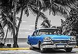 Forwall Fototapete Vlies Wanddeko Auto Oldtimer - Blau Strand Palmen Kuba Havanna Vliestapete Wand Tapete Moderne Wohnzimmer Schlafzimmer Wanddekoration 13335VEL 152,5cm x 104cm