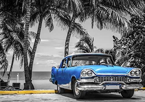 Forwall Fototapete Vlies Wanddeko Auto Oldtimer - Blau Strand Palmen Kuba Havanna Vliestapete Wand Tapete Moderne Wohnzimmer Schlafzimmer Wanddekoration 13335V8 368cm x 254cm