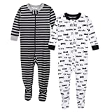 Gerber Baby Boys Organic 2 Pack Cotton Footed Unionsuit, Text, 12 Months