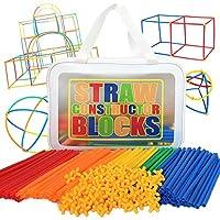 [チュージー] ストローブロック 知育玩具 おもちゃ クリエイティビティを育む 立体 パズル 屋外でも遊べる 男の子 女の子 誕生日プレゼント (バッグ入り, 600ピース)