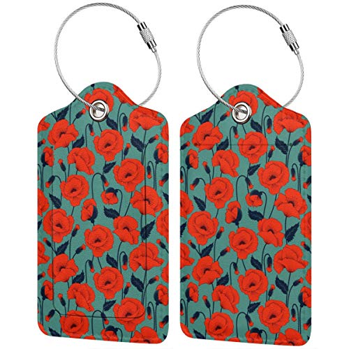 Red Poppy Flower Personalized Leather Luxury Suitcase Tag Set Travel Accessories Luggage Tags