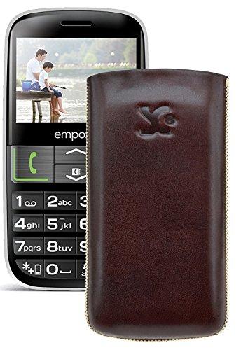 Original Suncase Tasche für / Emporia EUPHORIA V50 / Leder Etui Handytasche Ledertasche Schutzhülle Hülle Hülle - Lasche mit Rückzugfunktion* In Braun