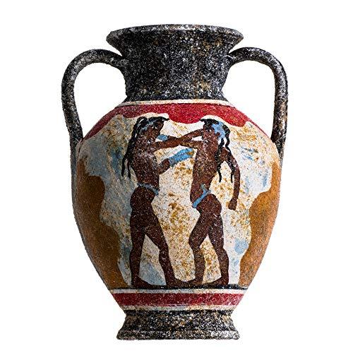 BeautifulGreekStatues Akrotiri Boxer Fresco - Jarrón de cerámica (hecho a mano, tamaño mediano)