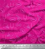 Soimoi Rose Rayonne en Tissu Casque de Cricket et Ballon de Rugby des Sports Tissu Imprime Metre 56 Pouce Large