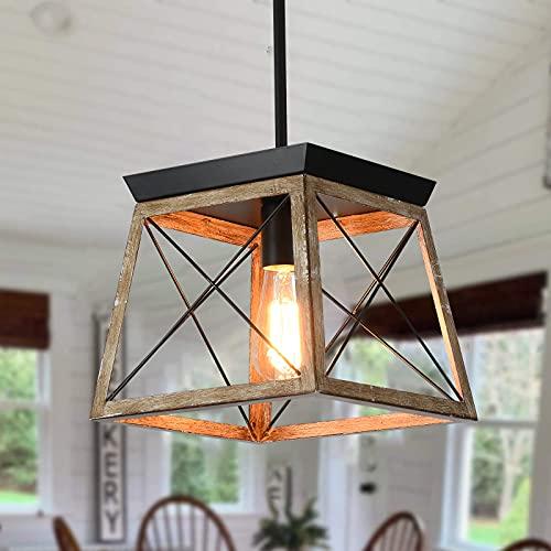 Ganeed Farmhouse Jaula de metal con lámpara colgante con acabado de madera, lámpara de araña rústica de 1 luz, lámpara colgante de altura ajustable para cocina, isla, comedor, dormitorio, vestíbulo