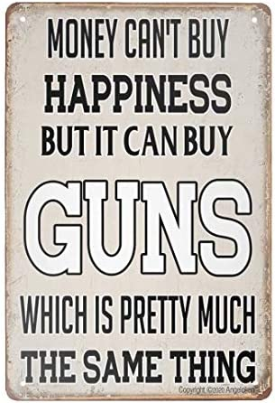 Angeloken Retro Metal Sign Vintage Guns Sign for Plaque Poster Cafe Wall Art Sign Gift 8 X 12 product image