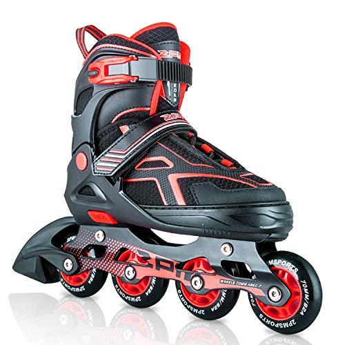 2PM SPORTS Torinx Red Black Boys Adjustable Inline Skates, Fun Skates for Kids, Beginner Roller Skates for Girls, Men and Ladies - Large (4Y-7Y US)