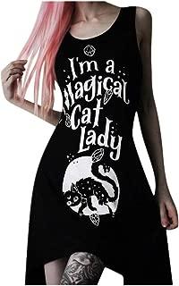 Kaniem Womens Popular Gothic Punk Dress Cool Print Tshirt Dress Halloween Cosplay Costume Outfit