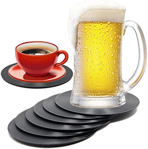 COLIBROX Set of 6 Colorful Retro Vinyl Record Disk Coaster for Drinks with Funny Labels - Desktop Protection Prevents Furniture Damage - Tabletop Drink Coasters