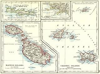 EUROPEAN ISLANDS. Malta Gozo Crete Capri Jersey Guernsey Sark. JOHNSTON - 1899 - old map - antique map - vintage map - Greece maps