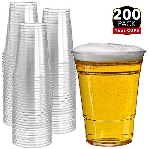 200 Clear Plastic Cups | 16 oz Plastic Cups | Clear Disposable Cups | PET Cups | Plastic Water Cups | Plastic Beer Cups | Clear Plastic Party Cups |Crystal Clear Cups