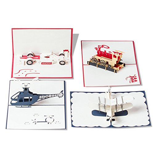 Pop Up Cards Set for Kids. Boys will Love these 3D Happy Birthday Cards (4 Pack) (4 Pack- Assorted)