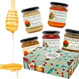 Snack Hawaii Hawaiian Honey Gift Box - 100% Organic, Pure, Raw and Unfiltered - Tasty Gourmet Flavors from Unique Island Blossoms - Perfect for Teas, Coffee, Toast and Desserts - 5-9oz Sampler Jars
