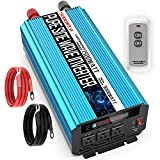 SUDOKEJI 1500W Pure sine Wave Power Inverter 12V DC to AC 110V/120V Converter 3 Socket car Inverter, 2 USB Ports Wireless Remote Control and LCD Display Dual Cooling Inverter, Suitable for CPAP RV