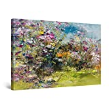 Startonight Cuadro Moderno en Lienzo Pintura Abstracta Flores Verdes para Salon Decoración Grande 80 x 120 cm