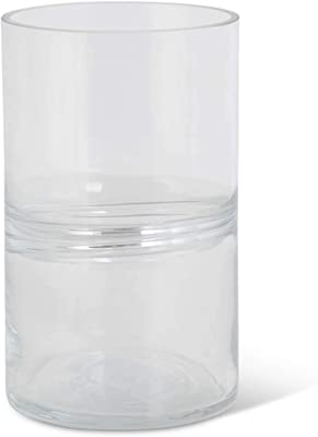 K&K Interiors 16570A-2 8 Inch Clear Glass Handblown Containers w/Center Inlay Stripe