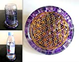 ZZYBIA LARGE 4' Amethyst Crystals Flower Of Life Coaster Water Charging Plate Energy Dome