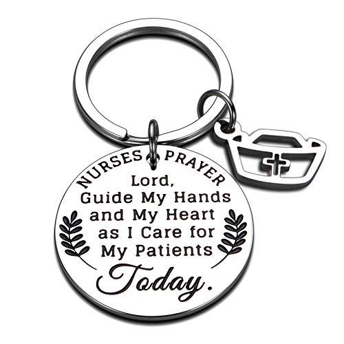 Christmas Nurse RN Gifts Keychain for Women Nurses Student Feamle Nursing Graduation Birthday National Nurses Day Gift for Medical Student Practitioner Paramedic LPN Prayer Inspirational Jewelry